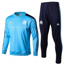 17-18 Marseille Blue round neck Training suit (17-18马赛蓝色圆领训练服)