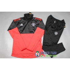 17-18 UEFA Champions League Manchester United round neck Red and Black Training suit (17-18欧冠曼联高领红黑色训练服)