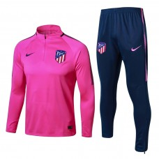 17-18 Atletico Madrid round neck Pink Colour Training suit (17-18马竞圆领粉色训练服)