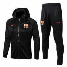 17-18 Barcelona Black zipper hoodie Training suit (17-18巴塞黑色拉链带帽训练服)