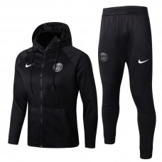 17-18 Paris Saint Germain Black zipper hoodie Training suit (17-18巴黎黑色带帽训练服)