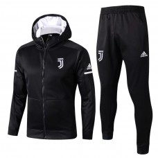 17-18 Juventus Black zipper hoodie Training suit (17-18尤文黑色带帽训练服)