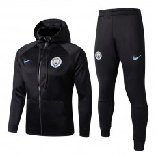 17-18 Manchester City Black zipper hoodie Training suit (17-18曼城黑色带帽训练服)
