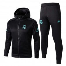 17-18 Real Madrid Black zipper hoodie Training suit (17-18皇马黑色带帽训练服)