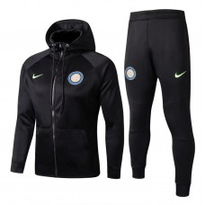 17-18 Inter Milan Black zipper hoodie Training suit (17-18国米黑色带帽训练服)