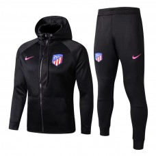 17-18 Atletico Madrid Black zipper hoodie Training suit (17-18马竞黑色带帽训练服)