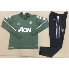 17-18 Manchester United High Neck Green Training suit (17-18曼联高领绿色训练服)
