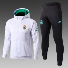 17-18 Real Madrid White zipper hoodie Training suit (17-18皇马白色带帽训练服)