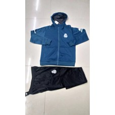 17-18 Real Madrid Blue Hoodies Training suit (17-18皇马蓝色帽子拉链训练服)