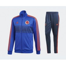 2018 World Cup Colombia Blue Zipper Training suit (2018世界杯哥伦比亚蓝色拉链套装)