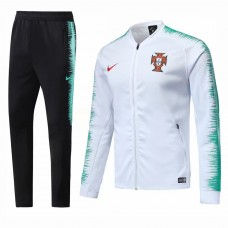 2018 World Cup Portugal White Zipper Training suit (2018世界杯葡萄牙白色拉链套装)