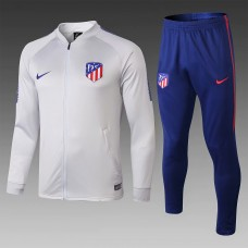 18-19 Atlético Madrid Gray white Zipper Training Suit (18-19马竞灰白色(窄边)拉链训练服)