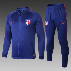 18-19 Atlético Madrid Gray Blue Zipper Training Suit (18-19马竞蓝色(窄边)拉链训练服)