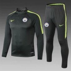 18-19 Manchester City Blackish Green Training Suit (18-19曼城墨绿色(窄边)训练服)