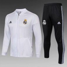 18-19 Real Madrid White Zipper Training Suit (18-19皇马白色拉链训练服)
