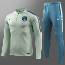 18-19 Atlético Madrid Light Green white Training Suit (18-19马竞浅绿色半拉训练服)