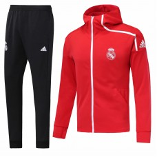 18-19 Real Madrid Red Hoody Zipper Training Suit  (18-19皇马红色帽子拉链训练服)