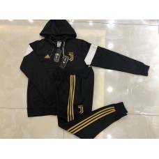 18-19 Juventus Black Hoody Zipper Training Suit (18-19尤文黑色金标帽子拉链训练服)
