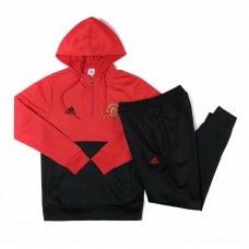18-19 Manchester United Hoody Training Suit (18-19曼联红色帽子半拉训练服)