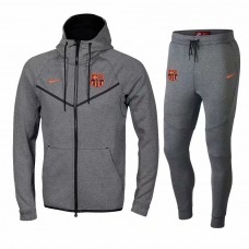 18-19 Barcelona Grey Hoody Zipper Training Suit (18-19巴塞灰色帽子拉链训练服)