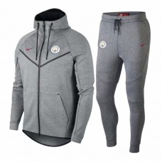 18-19 Manchester City Grey Hoody Zipper Training Suit (18-19曼城灰色帽子拉链训练服)