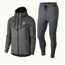 18-19 Chelsea Grey Hoody Zipper Training Suit (18-19切尔西灰色帽子拉链训练服)