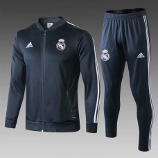 18-19 Real Madrid Navy Blue Zipper Training Suit (18-19皇马深蓝色拉链训练服)