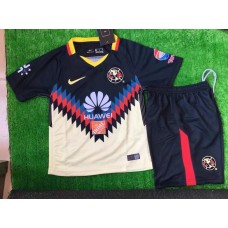 17-18 Club America Navy Blue Kid Kit (17-18 美洲深蓝色童装)