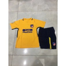 17-18 Atletico Madrid Away Yellow Kid Kit (17-18 马竞客黄色童装)