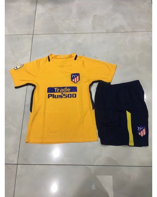 17-18 Atletico Madrid Third Yellow Kid Kit (17-18 马竞二客黄色童装)