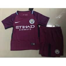 17-18 Manchester City Away Red Kid Kit (17-18曼城客场红色童装)