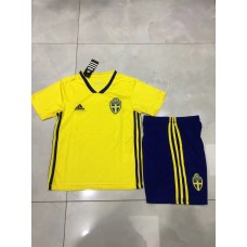 2018 World Cup Sweden Home Yellow Kid Kit (2018世界杯瑞典主场黄色童装)