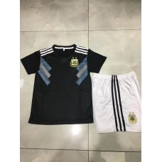 2018 World Cup Argentina Away Black Kid Kit (2018世界杯阿根廷客场黑色童装)