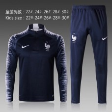 2018 World Cup France Blue kid training suit (2018世界杯法国蓝色童装训练服)