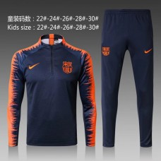 17-18 Barcelona Navy Blue kid training suit (17-18巴塞深蓝色童装训练服)