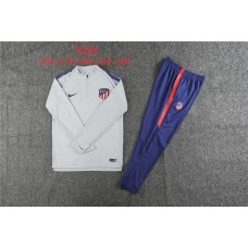 18-19 Atlético Madrid Grey White Kid Training suit (18-19马竞灰白色(窄边)童装训练服)