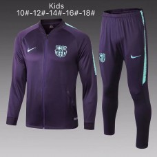 18-19 Barcelona Purple Zipper Kid Training suit (18-19巴萨紫色(窄边)拉链童装训练服)