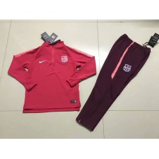 18-19 Barcelona Red Kid Training suit (18-19巴萨红色(窄边)童装训练服)
