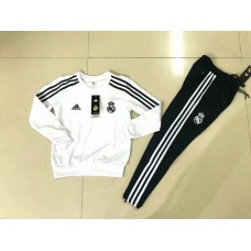 18-19 Real Madrid Round Neck White Kid Training suit (18-19皇马白色圆领童装训练服)