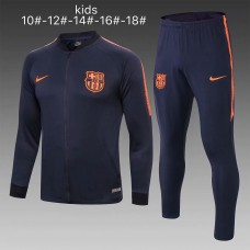 18-19 Barcelona Navy Blue Zipper Kid Training suit (18-19巴塞深蓝色(窄边)童装拉链训练服)