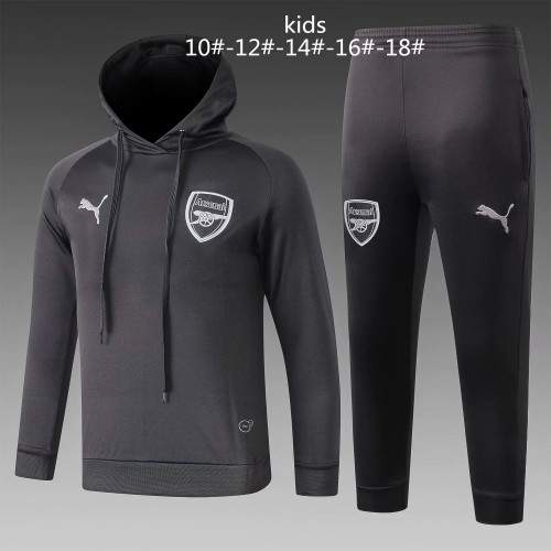 18-19 Arsenal Black Hoody Kid Training suit (18-19阿森纳黑色帽子训练服)