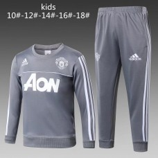 17-18 Manchester United Round Neck Gray kid training suit (17-18曼联圆领灰色童装训练服)