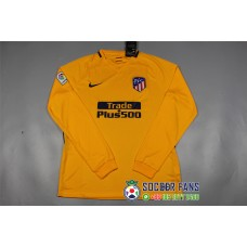 17-18 Atletico Madrid Away Yellow Long Sleeve Thai quality (17-18 马竞客场黄色长袖)