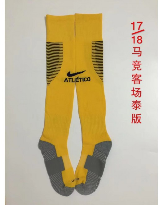 17-18 Atletico Madrid Away Yellow Socks,Thai Quality  (17-18 马竞客场黄色袜子)