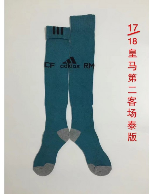 17-18 Real Madrid Third Blue Socks,Thai Quality (17-18 皇马第二客场蓝色袜子)
