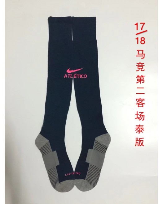 17-18 Atletico Madrid Third Black Socks,Thai Quality  (17-18 马竞二客场黑色袜子)
